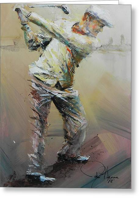 Golfer Greeting Cards - The Good Old Days Greeting Card by John Henne