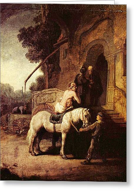 Storm Prints Paintings Greeting Cards - The Good Samaratin Greeting Card by Rembrandt