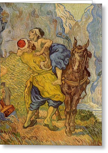 The Good Samaritan Greeting Cards - The Good Samaritan - after Delacroix Greeting Card by Vincent van Gogh