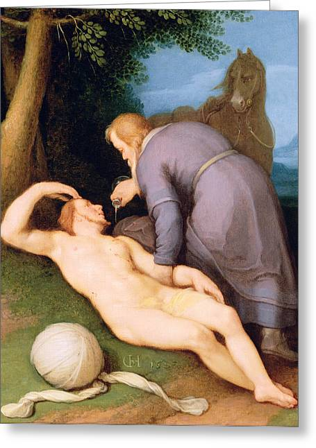 Pouring Greeting Cards - The Good Samaritan, 1627 Panel Greeting Card by Cornelis Cornelisz. van Haarlem