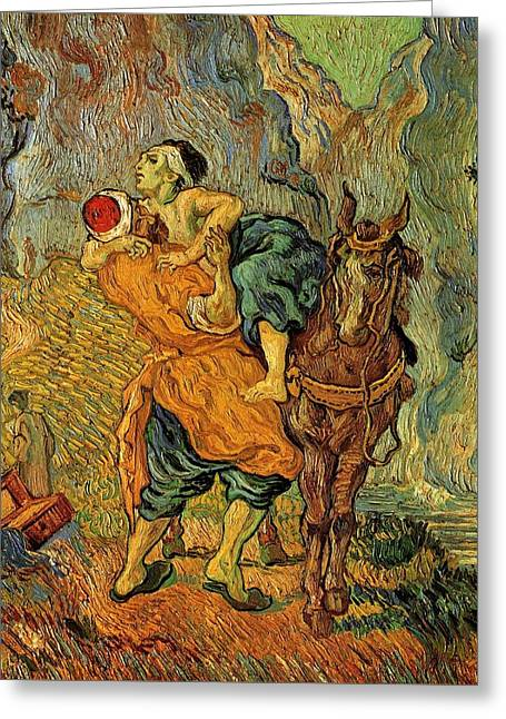 Parable Greeting Cards - The Good Samaritan after Delacroix 1890 Greeting Card by Vincent Van Gogh