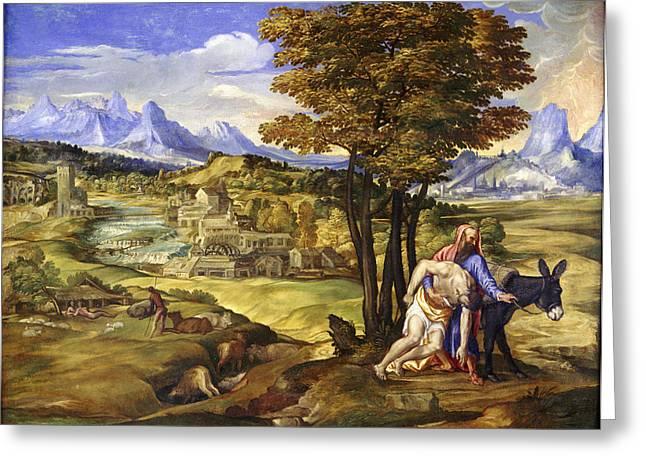 Samaritan Greeting Cards - The Good Samaritan Greeting Card by Domenico Campagnola