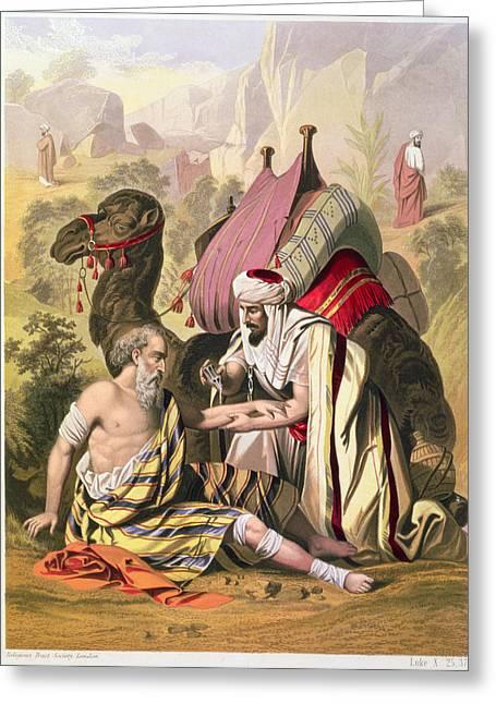 Desert Prints Greeting Cards - The Good Samaritan, From A Bible Greeting Card by Siegfried Detler Bendixen