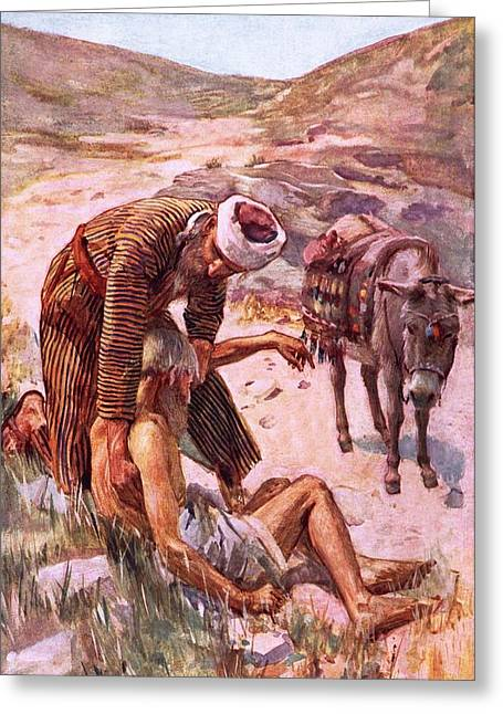 Charity Paintings Greeting Cards - The good Samaritan Greeting Card by Harold Copping