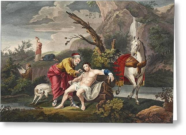 Testament Greeting Cards - The Good Samaritan, Illustration Greeting Card by William Hogarth