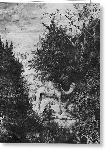 Fauna Pastels Greeting Cards - The Good Samaritan Greeting Card by Rodolphe Bresdin