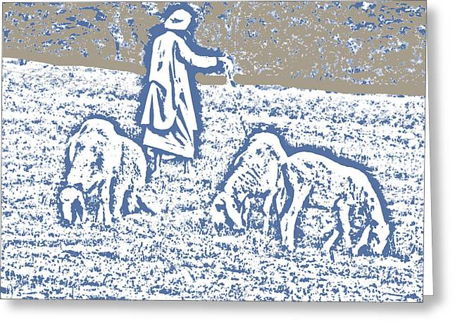 Tending Sheep Greeting Cards - The Good Shepherd 2 Greeting Card by Lenore Senior and Bobby Dar
