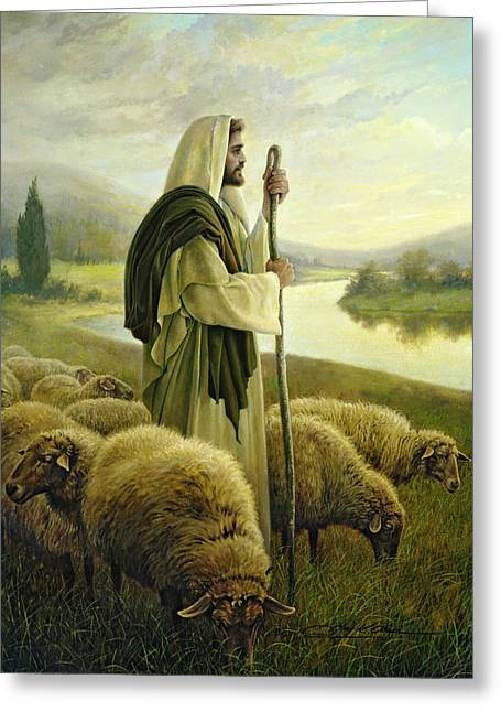 Good Greeting Cards - The Good Shepherd Greeting Card by Greg Olsen
