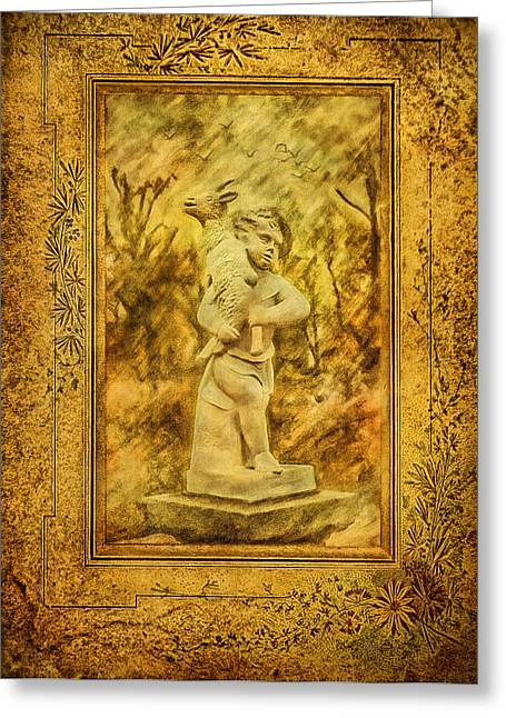 Christ Child Mixed Media Greeting Cards - The Good Shepherd Greeting Card by Gynt
