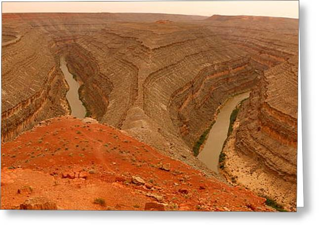 Goosenecks State Park Greeting Cards - The Goosenecks In A Duster - Panorama Greeting Card by Christiane Schulze Art And Photography