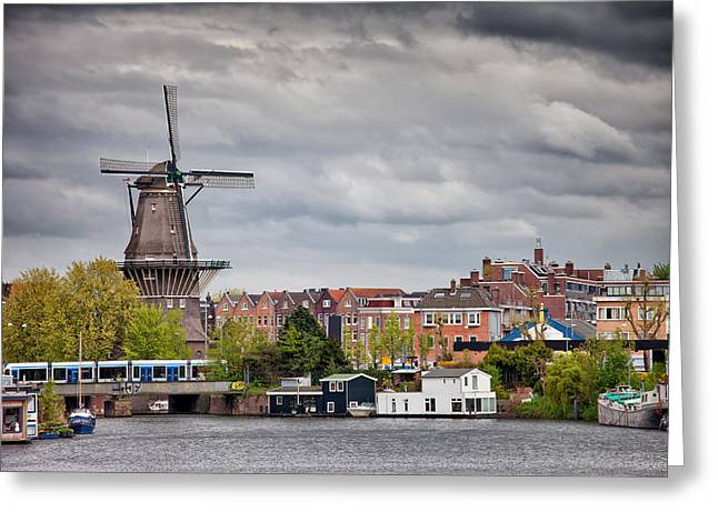 Old Home Place Greeting Cards - The Gooyer Windmill in the City of Amsterdam Greeting Card by Artur Bogacki
