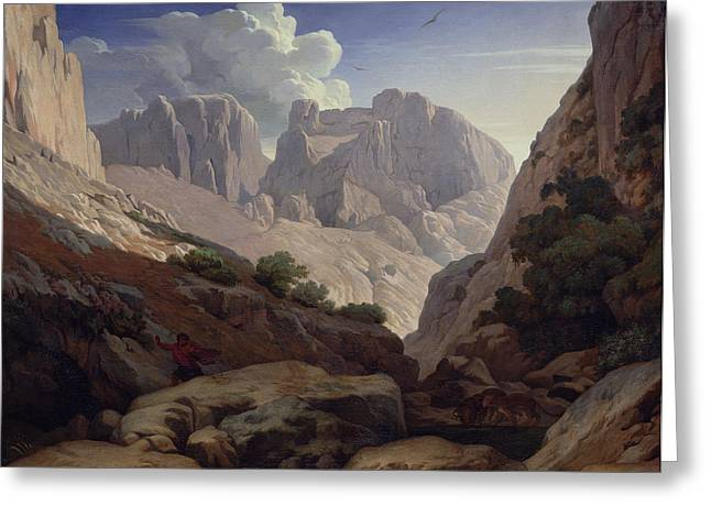 Atlas Photographs Greeting Cards - The Gorges Of Atlas, 1843 Oil On Canvas Greeting Card by Paul Jean Flandrin