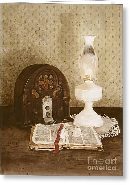 Oil Lamp Paintings Greeting Cards - The Gospel Hour Greeting Card by Monte Toon