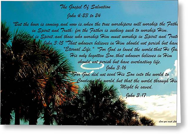 Salvation Mixed Media Greeting Cards - The Gospel Of Salvation Greeting Card by Lorna Maza