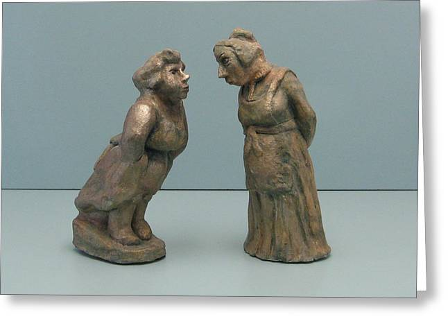 Character Portraits Sculptures Greeting Cards - The  gossipers Greeting Card by Nili Tochner