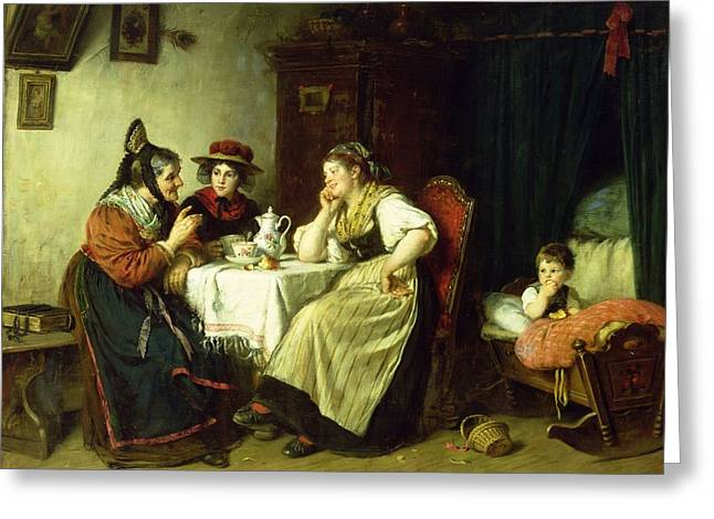 Gossiping Greeting Cards - The Gossips, 1887 Oil On Canvas Greeting Card by Rudolf Epp