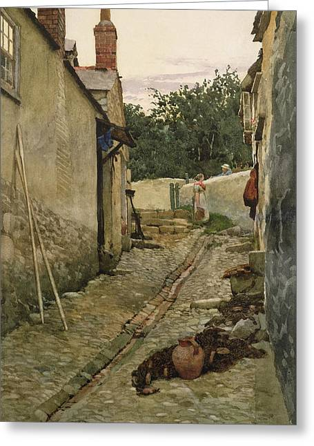 Gutter Greeting Cards - The Gossips Greeting Card by Walter Langley