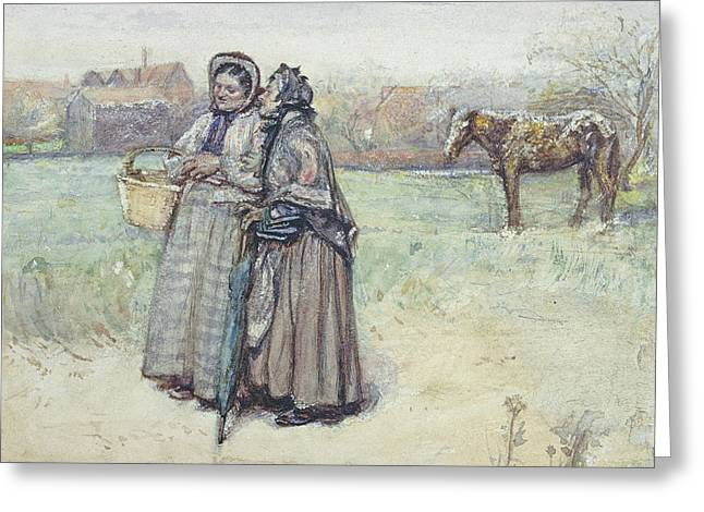 The Gossips  Greeting Card by George John Pinwell