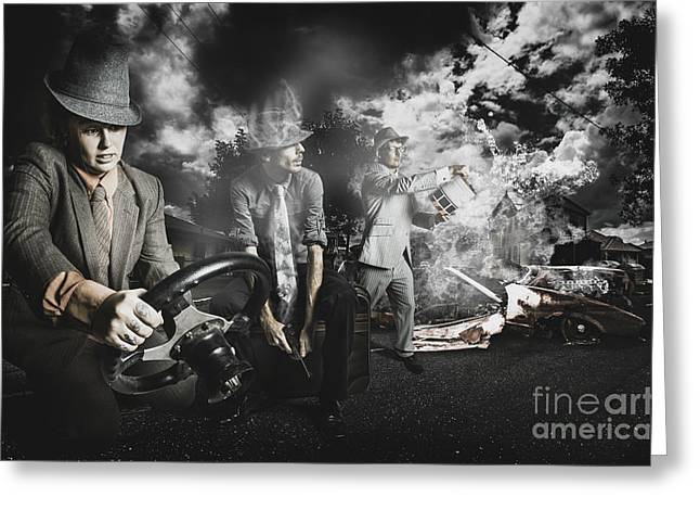 Misfortune Greeting Cards - The gotaway car Greeting Card by Ryan Jorgensen