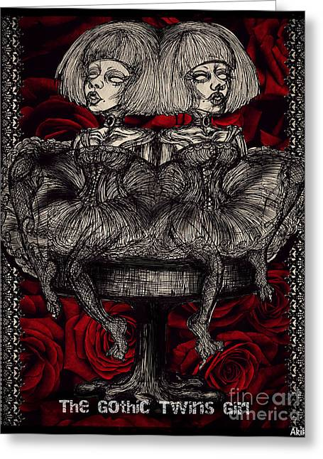 Equality Drawings Greeting Cards - The Gothic Twins Girl  Greeting Card by Akiko Kobayashi