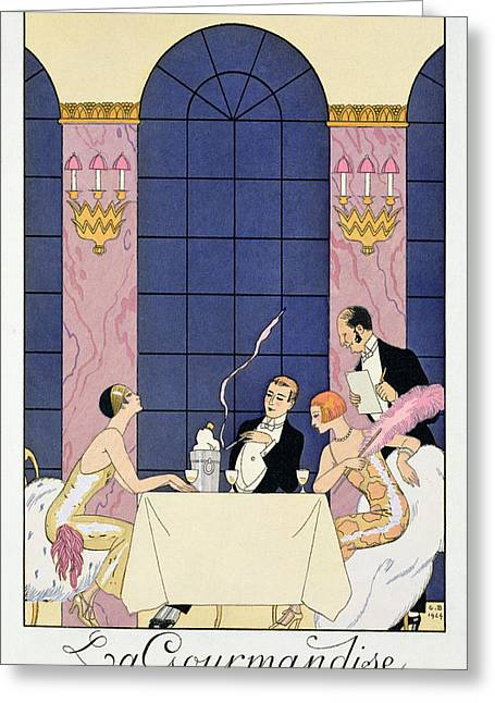 Short Hair Greeting Cards - The Gourmands Greeting Card by Georges Barbier