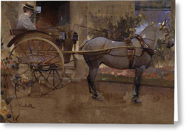 Pulling Greeting Cards - The Governess Cart Greeting Card by Joseph Crawhall