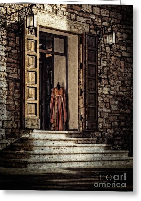 Wooden Stairs Greeting Cards - The Gown Greeting Card by Prints of Italy