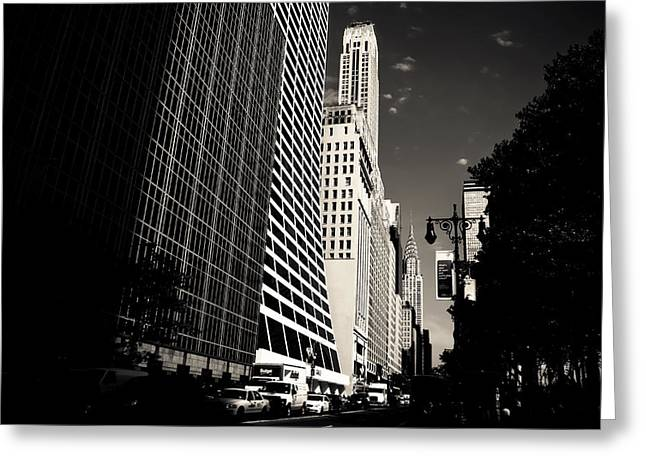 Nyc Architecture Greeting Cards - The Grace Building and the Chrysler Building - New York City Greeting Card by Vivienne Gucwa