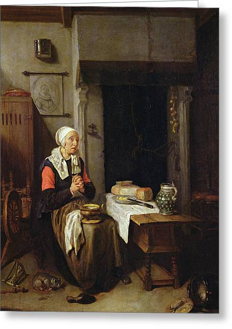 Le Cat Greeting Cards - The Grace Oil On Panel Greeting Card by Quiringh Gerritsz. van Brekelenkam