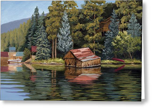 Lake House Greeting Cards - The Grand Boathouse II Greeting Card by Mary Giacomini
