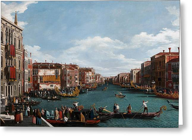 Water Vessels Greeting Cards - The Grand Canal at Venice Greeting Card by Antonio Canaletto