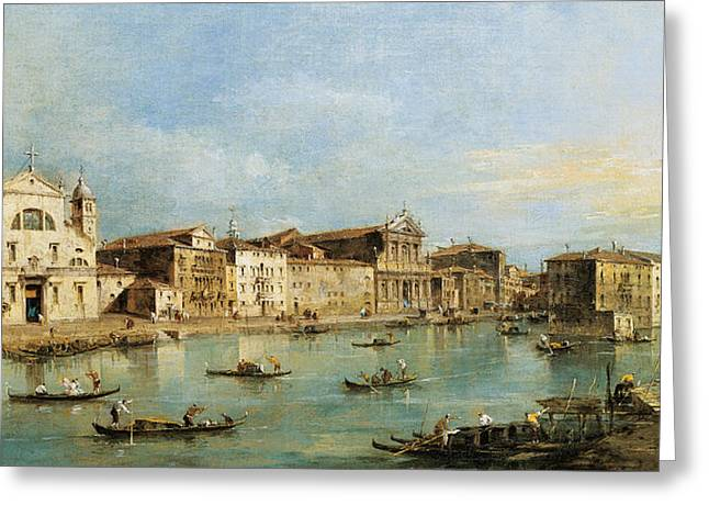 18th Century Greeting Cards - The Grand Canal Greeting Card by Francesco Guardi
