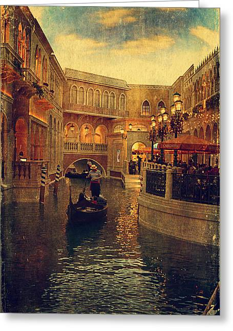 Las Vegas Art Greeting Cards - The Grand Canal Shoppes Greeting Card by Maria Angelica Maira