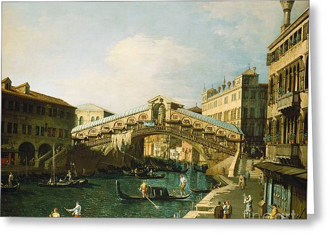 Bridge Greeting Cards Greeting Cards - The Grand Canal   Venice Greeting Card by Canaletto