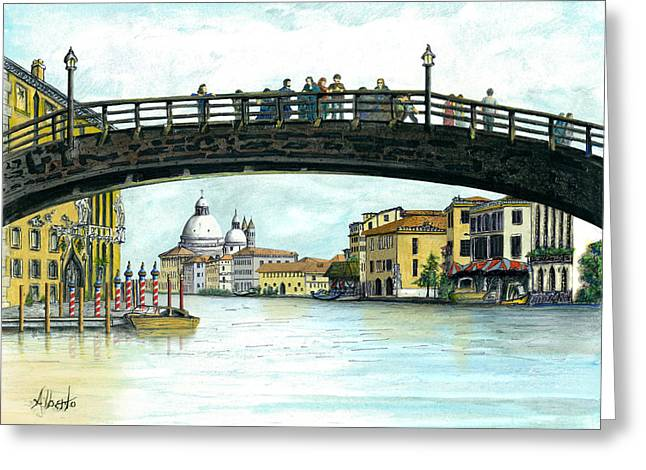Canal Drawings Greeting Cards - The Grand Canal Venice Italy Greeting Card by Albert Puskaric