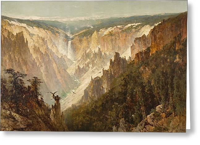 Yellowstone River Greeting Cards - The Grand Canyon of the Yellowstone Greeting Card by Thomas Hill