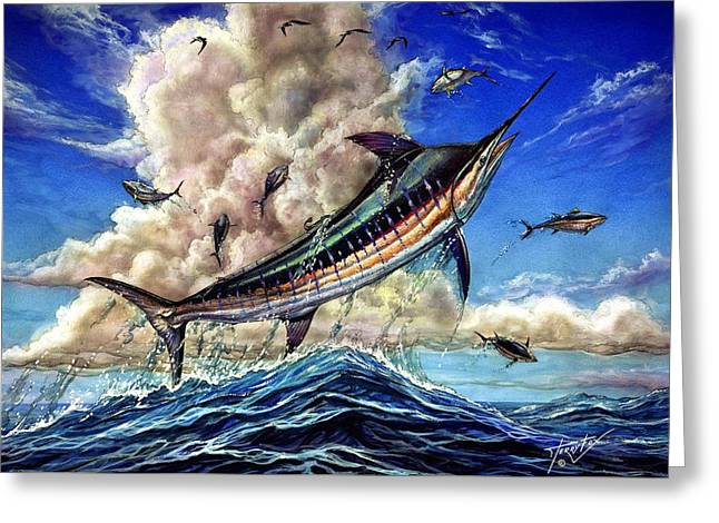 Marlin Azul Greeting Cards - The Grand Challenge  Marlin Greeting Card by Terry Fox