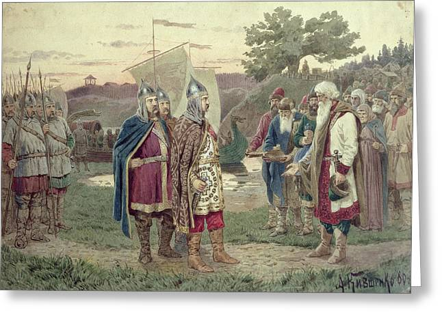 Helmet Greeting Cards - The Grand Duke Meeting With The People Of A Slav Town In The 9th Century, 1880 Wc On Paper Greeting Card by Aleksei Danilovich Kivshenko