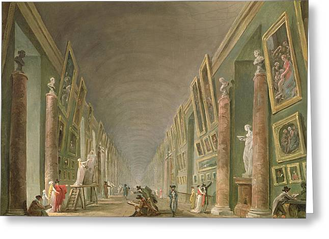 Connoisseur Greeting Cards - The Grand Gallery Of The Louvre Between 1801 And 1805 Oil On Canvas Greeting Card by Hubert Robert