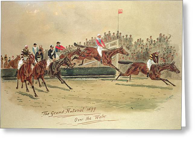 Crt Greeting Cards - The Grand National Over the Water Greeting Card by William Verner Longe