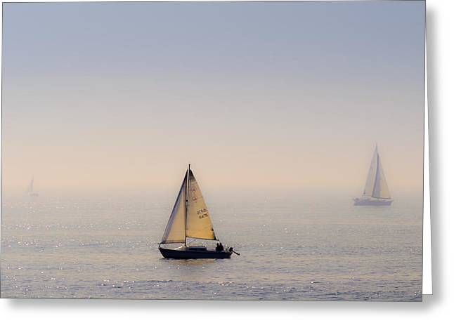 Foggy Ocean Greeting Cards - The Grand Ocean Greeting Card by Camille Lopez