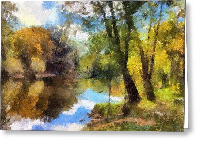 Ledge Mixed Media Greeting Cards - The Grand River In Autumn Greeting Card by J S