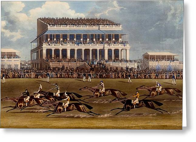 Finishing Greeting Cards - The Grand Stand At Epsom Races, Print Greeting Card by James Pollard