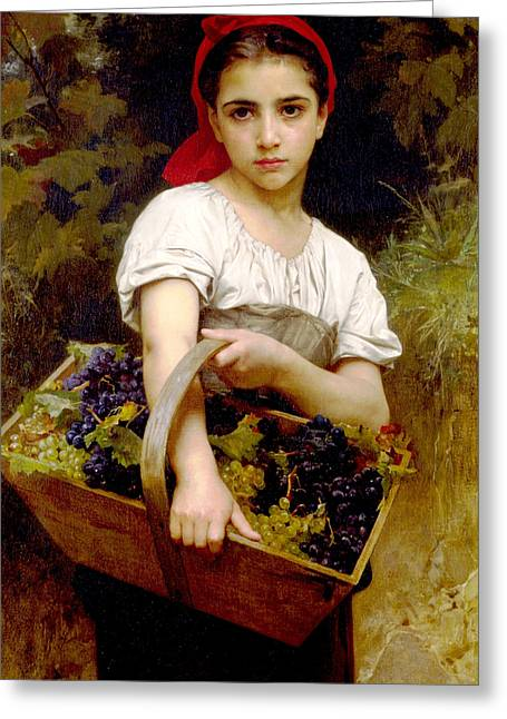 Old Masters Digital Art Greeting Cards - The Grape Picker Greeting Card by William Bouguereau
