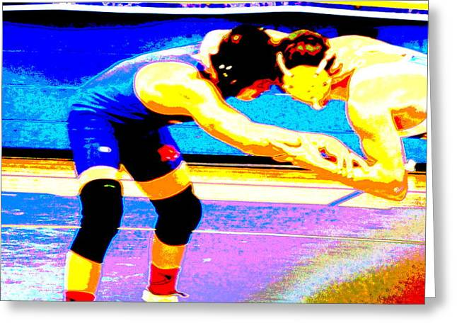 Grapple Greeting Cards - Wrestlers Grappling for a Hold by Earls Photography Greeting Card by Earl  Eells a