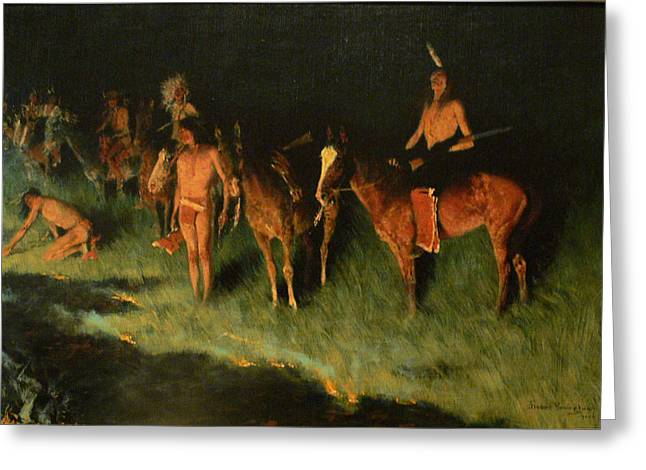 Remington Greeting Cards - The Grass Fire Greeting Card by Frederic Remington