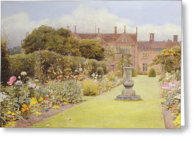 Birdbath Greeting Cards - The Grass Walk, Helmingham Hall, 1892 Greeting Card by Henry Terry