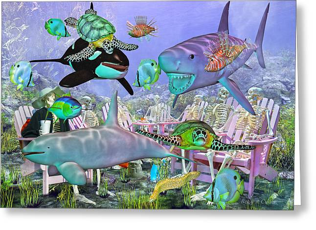 3 Fish Greeting Cards - The Grateful Crew Under the Ocean Greeting Card by Betsy A  Cutler
