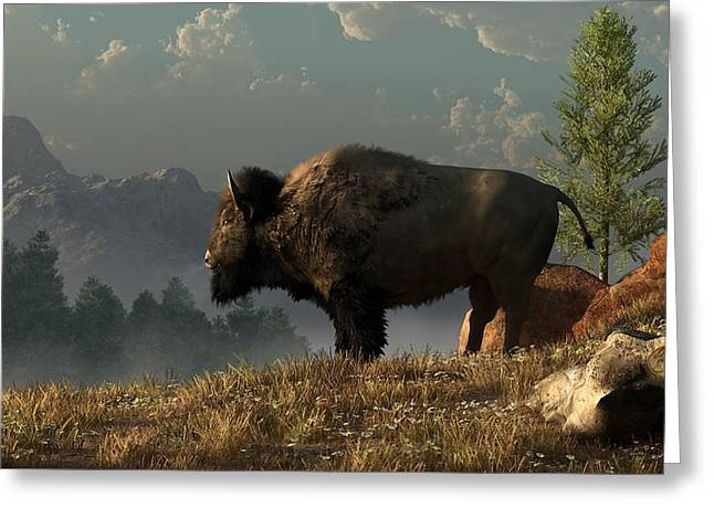 Yellowstone Digital Art Greeting Cards - The Great American Bison Greeting Card by Daniel Eskridge
