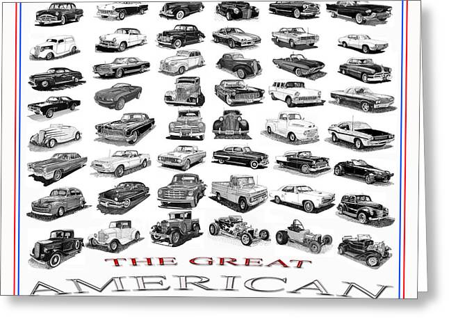 All American Drawings Greeting Cards - The American Car Poster Greeting Card by Jack Pumphrey
